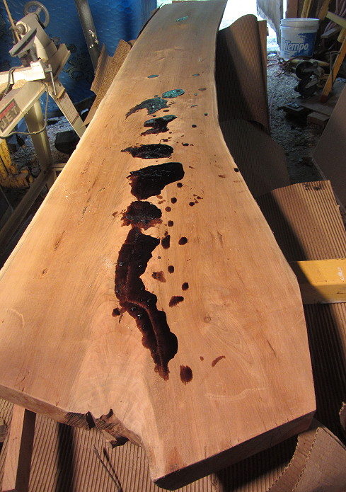 Live edge cherry counter slab How to fill a crack in the wall